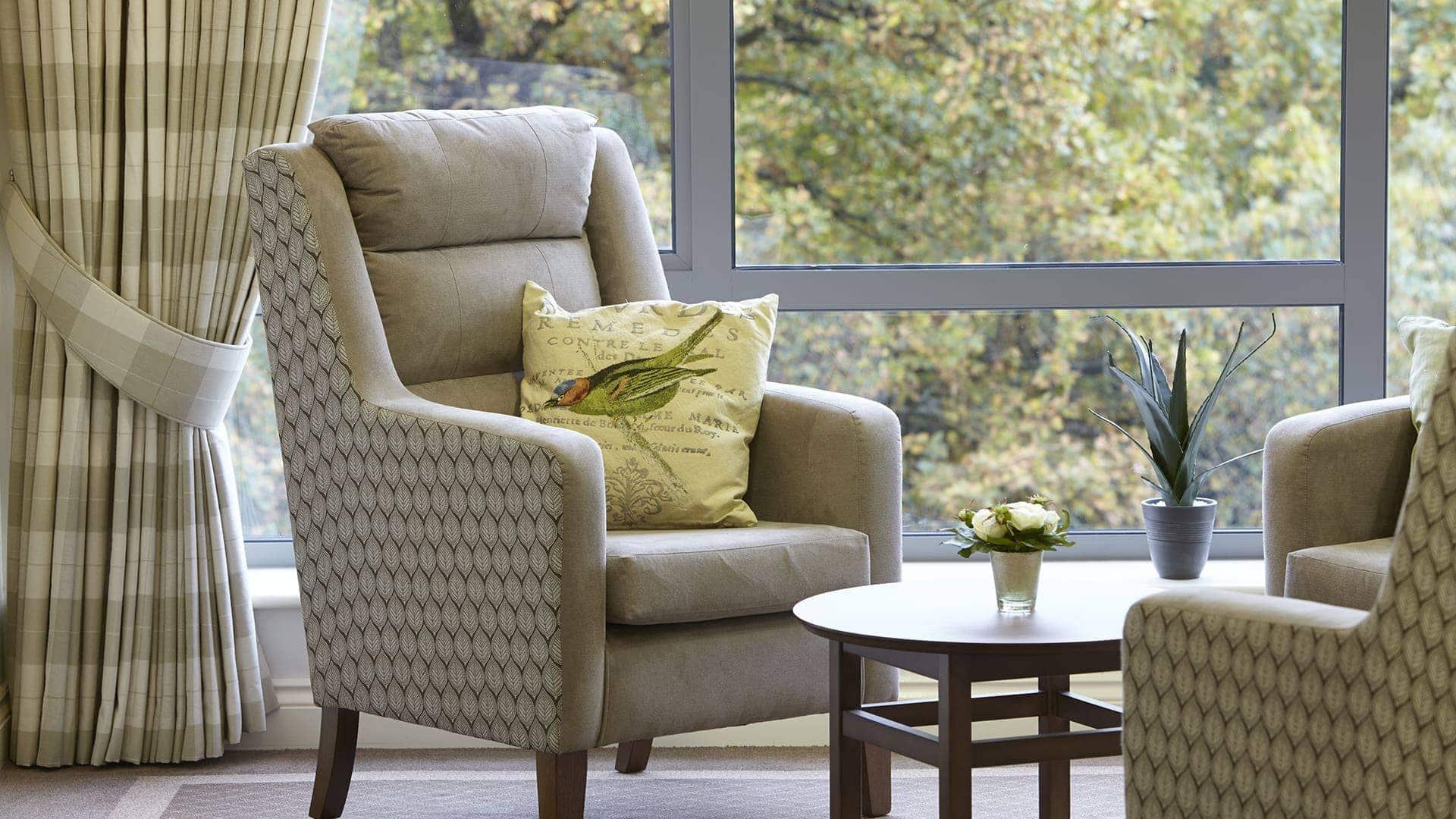 fire retardant cushion in care home