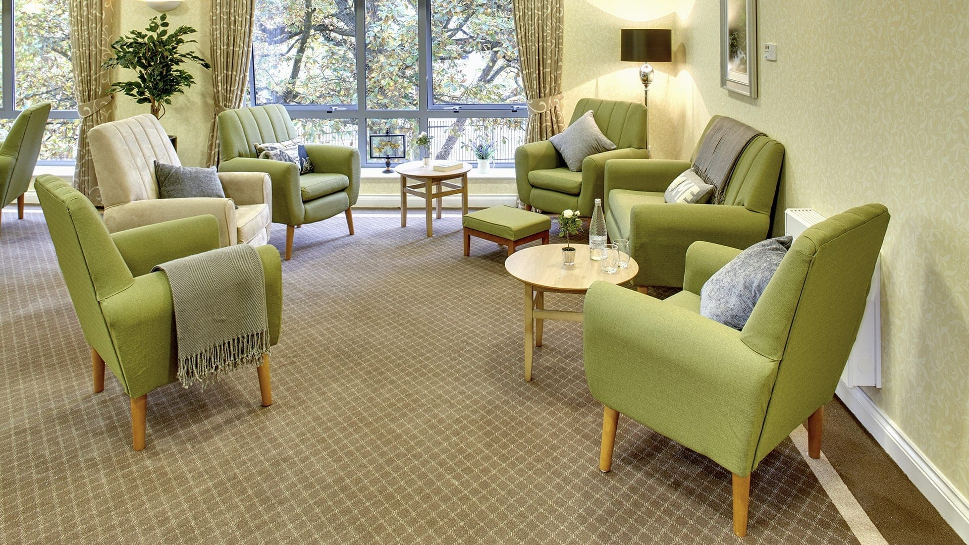 avalon court care home contract cushions and throw in living room