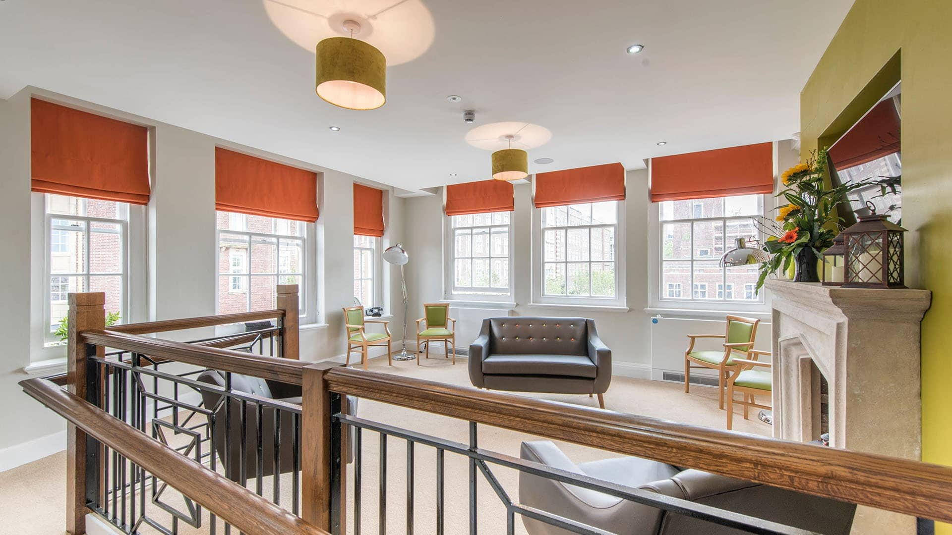 chocolate works care home contract blinds in common room