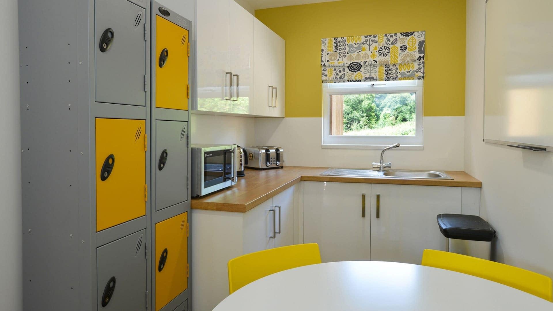 flame retardant blinds in school kitchen